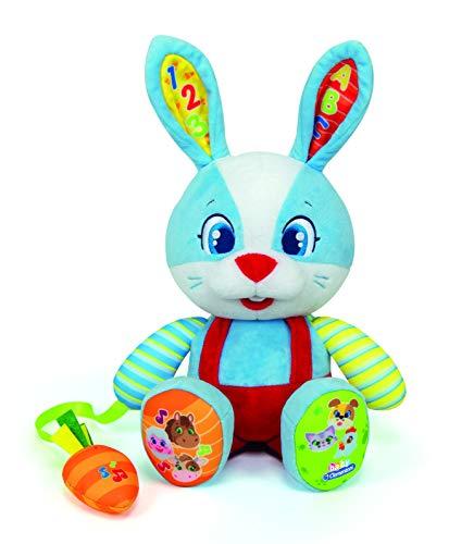 Clementoni-55320 - Valentín, el Conejo Parlanchín - peluche interactivo para bebés a partir de 10 meses