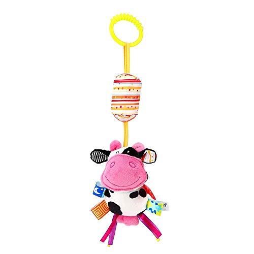 Bebé Sonajero Colgando Juguete para la Cama Cuna Cochecito Niño Infantil de Dibujos Animados Animal Suave Felpa Decoración Muñeca con Mordedor(Vaca)