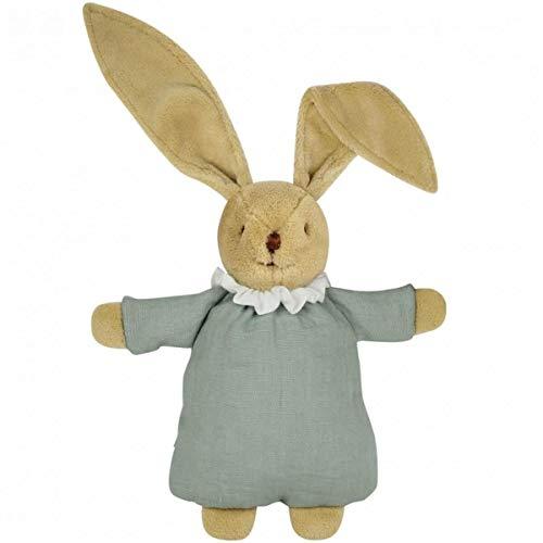 Trousselier - Juguete suave - Edredón de conejo - 20 cm de alto - Tela de lino - Clásico Chic - Regalo ideal para el nacimiento - Lavable a máquina - Color verde celadón - 2 unidades