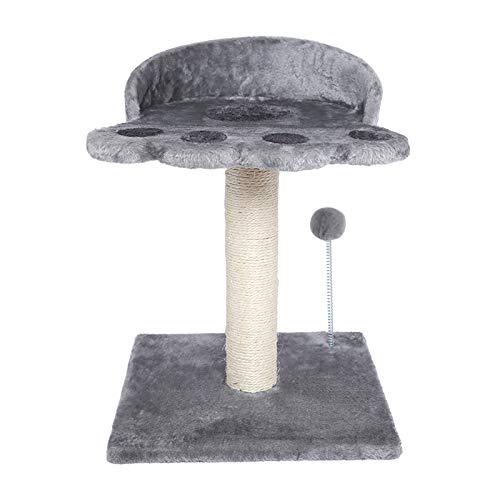 Poils bebe Rascador para gatos, altura de techo, moderno, tronco de sisal natural, torre con plataforma y pelota de peluche, muebles para gatos y pequeños (gris)
