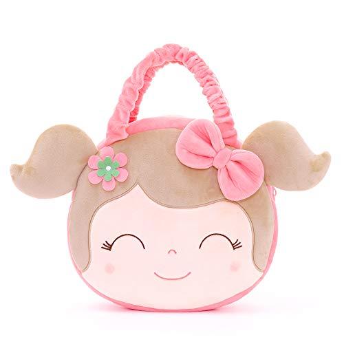 Gloveleya pañal Bolsa muñecas bebé Bolsas de Felpa Bolso para los niños y mamá Libro Bolsa Primavera Chica Rosa 9 Pulgadas
