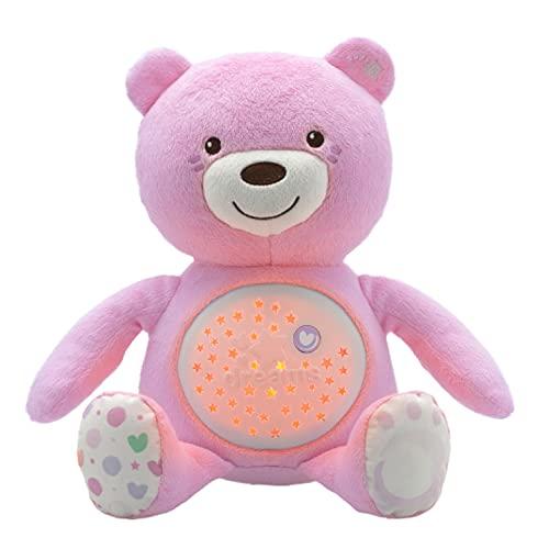 Chicco Baby Bear Oso Primeros Sueños de Peluche, Osito Proyector de Luces con Efectos Luminosos, Melodías Relajantes y Luz de Noche – Peluche para Bebés Recién Nacidos, Color Rosa