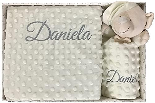 Set de Manta + Dou dou Personalizado con nombre bordado, Regalos padres Primerizos, básicos recién nacido bebé, Baby Shower - mibebestore