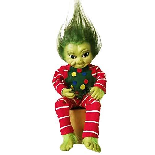 SANXDI Muñeca de Navidad realista de dibujos animados bebé verde juguete clásico personaje de la película Halloween simulación muñeca alta simulación juguetes de peluche para niños niñas