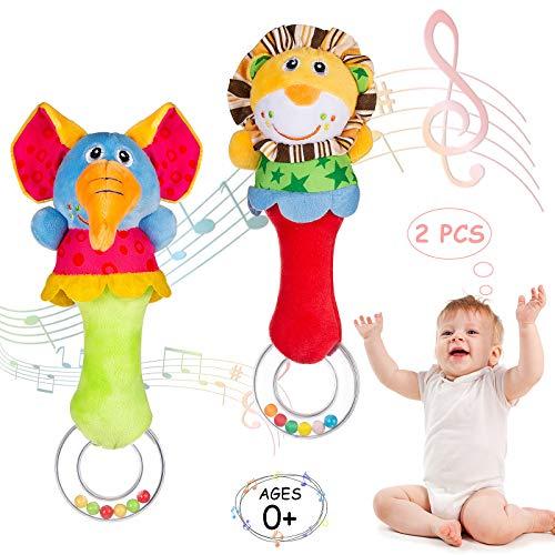 WolinTek 2 Piezas Sonajero de Juguete Suaves Animales Campanas,Juguete de Sonajero Muñeca de Peluche, Peluches Suaves de Bebe Sentido Animales Felpa Juguete para 3 6 9 12 Meses Infantil, Multicolor